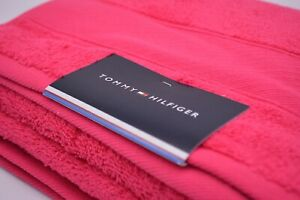 Tommy Hilfiger Bath Towel In Bright Pink Cotton Brand New With Tags