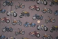 "Motorcycles ""Classic Ride"" fabric fq 50 x 56 cm Nutex 89800-101 100% Cotton"