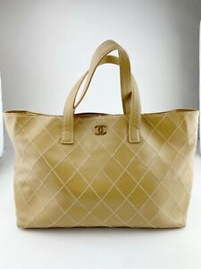 CHANEL large tan tote with diamond stitch