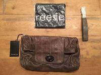 Treesje Brown Cracked Leather Metallic Large Clutch Bag Wrist Strap New NWT