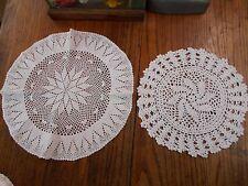 2 white Vintage Hand Crochet crocheted Doilies star burst / swirl pattern