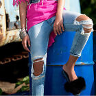 by ALINA Jeans da donna boyfriend skinny pantaloni FORATO a vita bassa blu XS-M