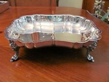 F.B.ROGERS SILVER CO. BEAUTIFUL DIVIDED SILVERPLATE ORNATE FOOTED SERVING DISH