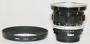 Nikon Nikkor UD 20mm f/3.5 + HN-9 Hood Made In 1974 Original Condition GREAT