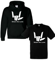 Share The Youtuber Love Girls Boys Kids Youth Hoodie Hoody T shirt Tee Top Black