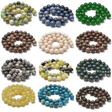 "Natural Gemstone Smooth Round Loose Beads 15"" 6mm 8mm 10mm"