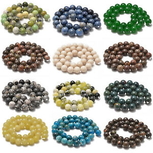 """Natural Gemstone Smooth Round Loose Beads 15"""" 6mm 8mm 10mm"""