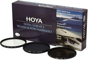 Hoya 77mm (HMC UV/Circular Polarizer / ND8) 3 Digital Filter Set with Pouch