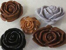 5 VTG PLASTIC ROSE FLOWERS CARVED MIX FLATBACKS CABOCHONS JEWELRY DESIGN CRAFT 3