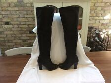 TOPSHOP BLACK  LEATHER OVER THE KNEE BOOTS SZE UK 6
