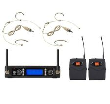 Professional Dual Channel UHF Digital Wireless Headset Microphone System 2 Micro