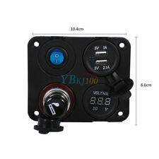 New Car Boat 12V 4 Hole Power Panel Switch Socket Voltmeter Dual USB Charger MF