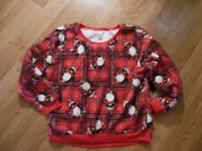 Red Plaid Penguin Christmas Fleece Long Sleeve Shirt / Top Size NWT