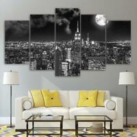 New York City at Night Moon NYC 5 panel canvas Wall Art Home Decor Print Poster