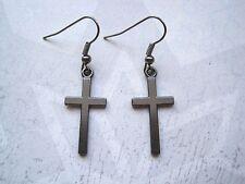 SIMPLE GUNMETAL BLACK CROSS Gothic Earrings Dita Madonna HALLOWEEN FANCY DRESS
