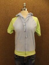 NEW Vtg 80s Blue & Green Terry Cloth Sporty Hooded Zip Down Raglan Summer Top M