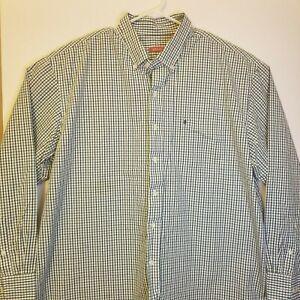 Izod Mens XXL Green Blue White Checks Button Down Long Sleeve Shirt