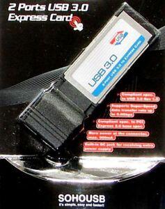 NEW 2 PORT USB 3.0 LAPTOP NOTEBOOK EXPRESS CARD 5.0GBPS