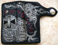 VINTAGE TATTOO SKULL CROSS GENUINE STINGRAY SKIN LEATHER BIKER WALLET CUSTOM NEW