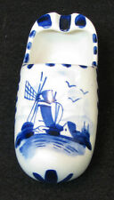 Delft Holland china hand painted shoe (ashtray) with blue painted windmill scene