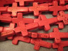 Hot Pink Magnesite Beads Cross 14pcs