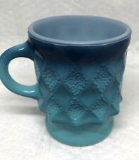 Vintage Anchor Hocking Fire King  Kimberly BLUE Milk Glass Mug