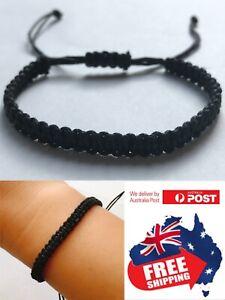 Adjust Mens Women Braided Black Cord Hemp Bracelet Anklet Wristband Surfer BOHO