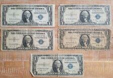 Set of 5 Series 1935 $1 One Dollar US Star Silver Certificate Bills, NR!