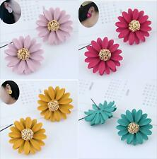 Fashion earrings stud Flower daisy coloured large statement gold Pink Yellow