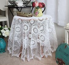 Elegant Hand Crochet Floral Design White Round Cotton Table Cloth L