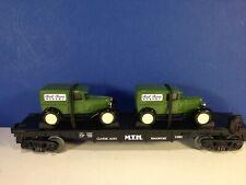 MTH RailKing O Gauge TRANSPORT FLAT CAR W/ 2 ERTL PANEL VAN  30-7671 w/ box