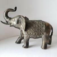 Vintage Elephant Statue Antique Figure Bronze Silver Metal Ornate Elephante