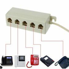 RJ11 6P4C Jack 5 Way Outlet Telephone Phone Modular Line Splitter Plug Adapter