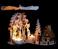 Teelicht - Pyramide mit Räucherhaus Waldmotiv Fachhändler aus dem Erzgebirge