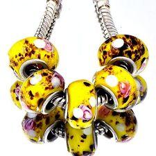 5Pcs GF Silver Yellow Crystal MURANO GLASS BEADS Fit European DIY Bracelet D8215