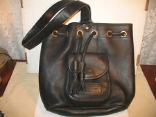 Vintage Dooney & Bourke Pebbled Leather Drawstring Sling Bag- Black