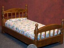 Dollhouse Miniature Single Bed Walnut Floral Bedspread 1:12 one inch scale K59