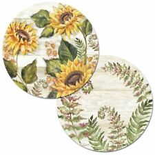 Sunflowers on Shiplap Reversible Plastic Round Placemat Set ~ Set/4
