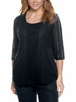 Ulla Popken Plus 20-34 Black Cotton Modal Knit Endless Lace Details Top Tunic