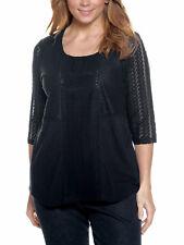 Ulla Popken Plus 20-34 Black Cotton Modal Knit Endless Lace Details Top Tunic