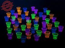 Shot Glasses Plastic Glow In The Dark Neon Black Light Reactive 1oz 50 Count New