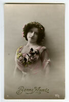 c 1913 Beauty Pretty Young YOUNG LADY Glamor Glamour photo postcard