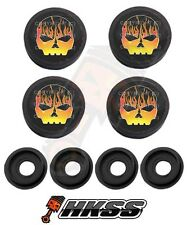 4 Black Custom License Plate Frame Tag Screw Cap Covers - FLAME SKULL G B C4R