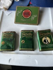 Vintage Lot-(4) Tobacco Tins 3-Tuxedo Flip Tops & Lucky Strike Flat Fifties
