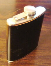 6 OZ. Stainless Steel Hip Flask with black leather cover