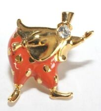 Brooch Lapel Pin - Trifari Clown Top Hat Orange Enamel Rhinestone Gold Tone 1997
