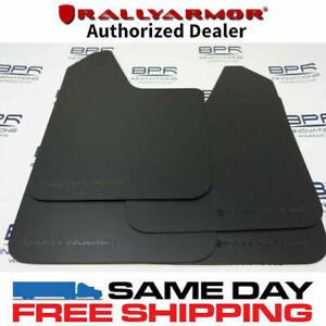 Rally Armor Basic Mud Flaps Black w/Black Logo Universal Fitment MF12-BAS-BLK