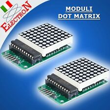2x MODULO DOT MATRIX 8x8 MAX7219 DISPLAY SERIALE a MATRICE LED ROSSI x ARDUINO