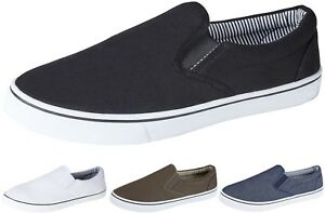 Mens Slip On Canvas Shoes Summer Pumps Casual Trainers Lightweight Plimsolls