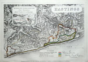 HASTINGS, SUSSEX, St.Leonard's, Bexhill, Battle, Westfield antique map 1868